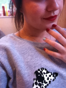 Dalmatian nails with red