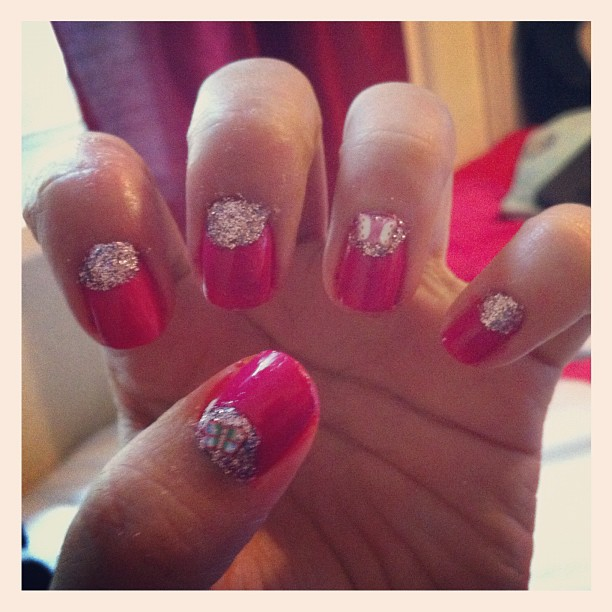 Girly nails with butterfly slices
