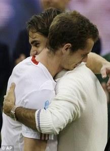 Roger Federer consoles Andy Murray after winning Wimbledon