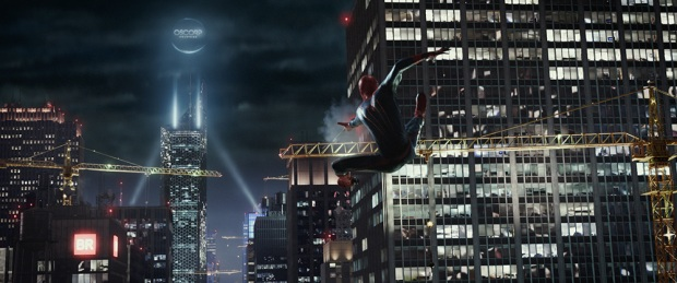 Spider-Man crane jumping through the city