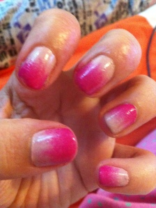 Baby pink and Bright pink ombre nails