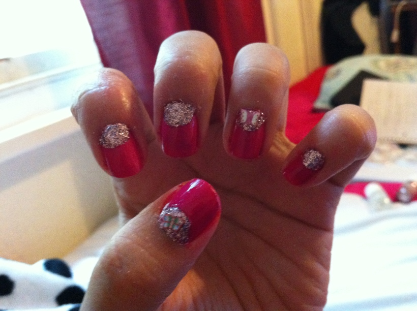 Girly Nails with butterfly nail slice