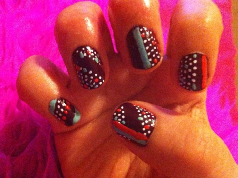 Dots and Stripes Nails - My right hand