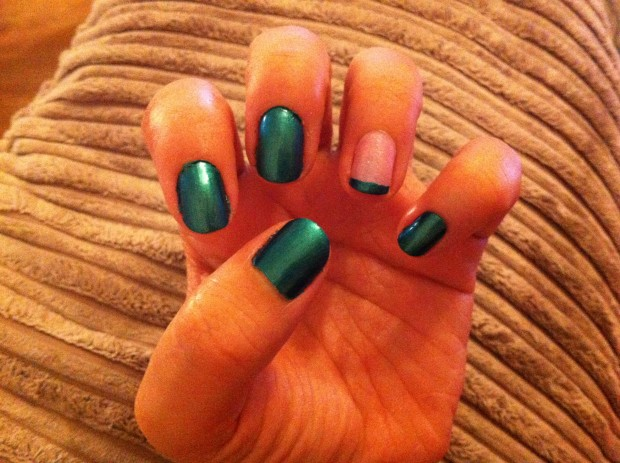 Pink and Beetle-like green/blue French manicure (left hand)