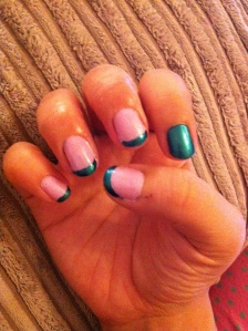 Pink and Beetle-like green/blue French manicure (right hand)