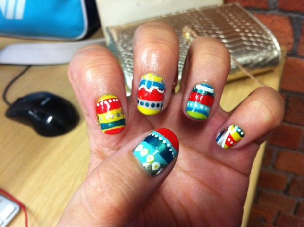 Colourful, stripey, tribal nails