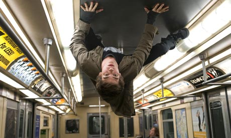Peter Parker stuck on the ceiling of the tube