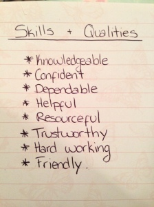 An example of a list of qualities and skills