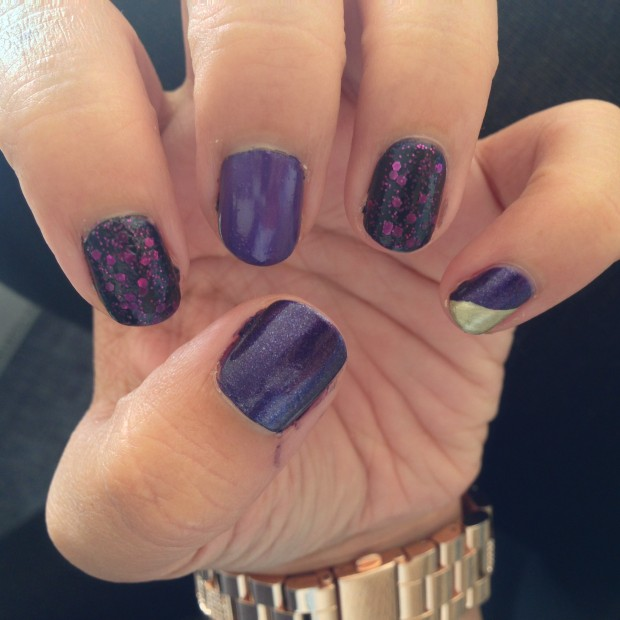 Purple Mania Mixed Nails with Gold